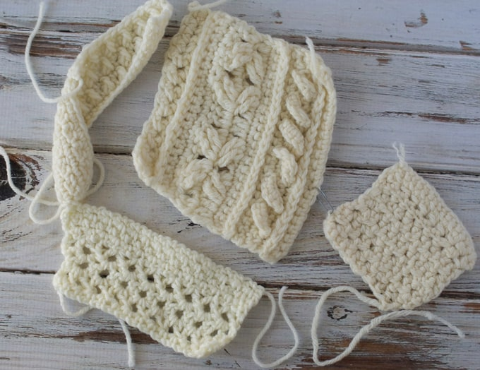 Crochet swatches in ivory color yarn