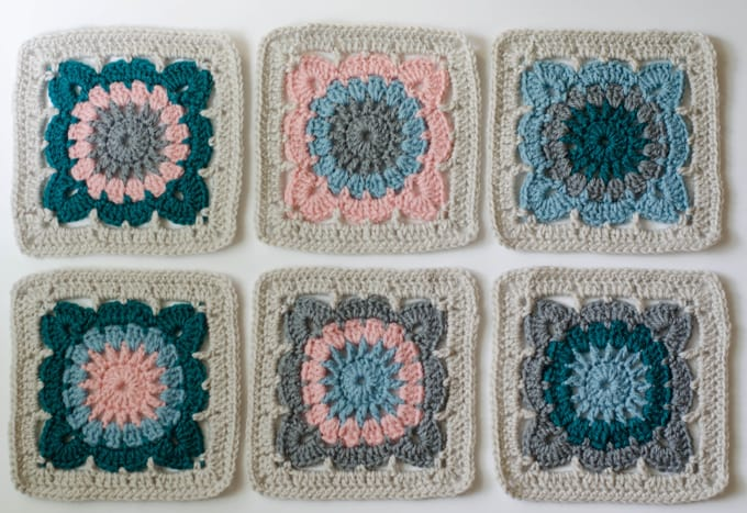 6 crochet afghan squares in ivory, blue, teal, pink and gray