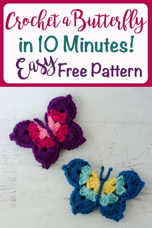 Graphic of crochet butterfly pattern