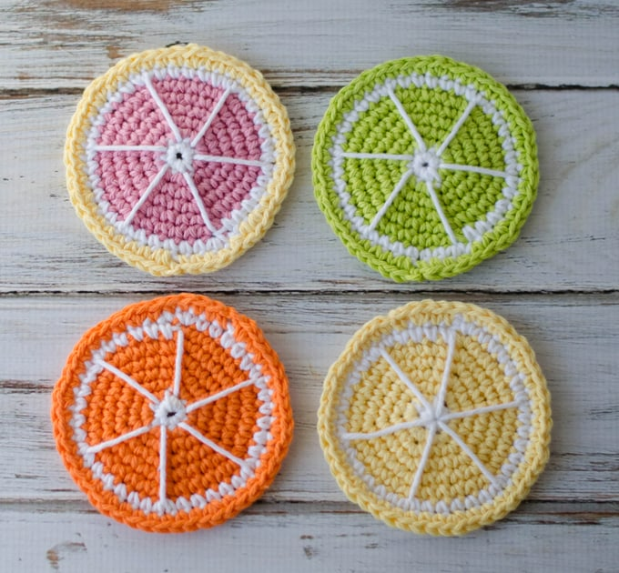 Crochet Citrus Coasters Crochet 365 Knit Too