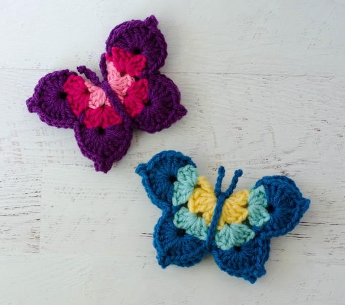 Pink and blue crochet butterflies