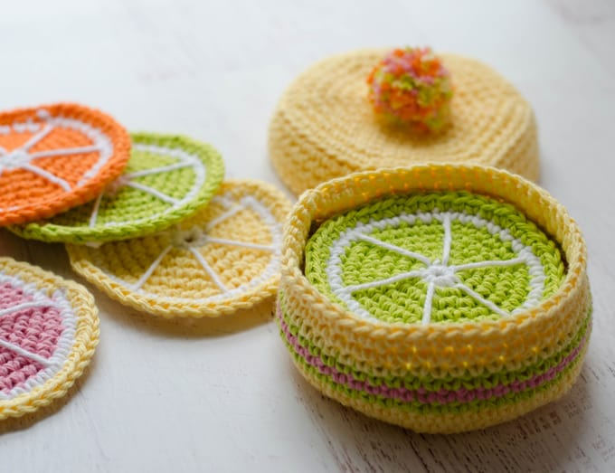 Crochet Lemon Coaster Pattern is fun to crochet! Free crochet coaster pattern.