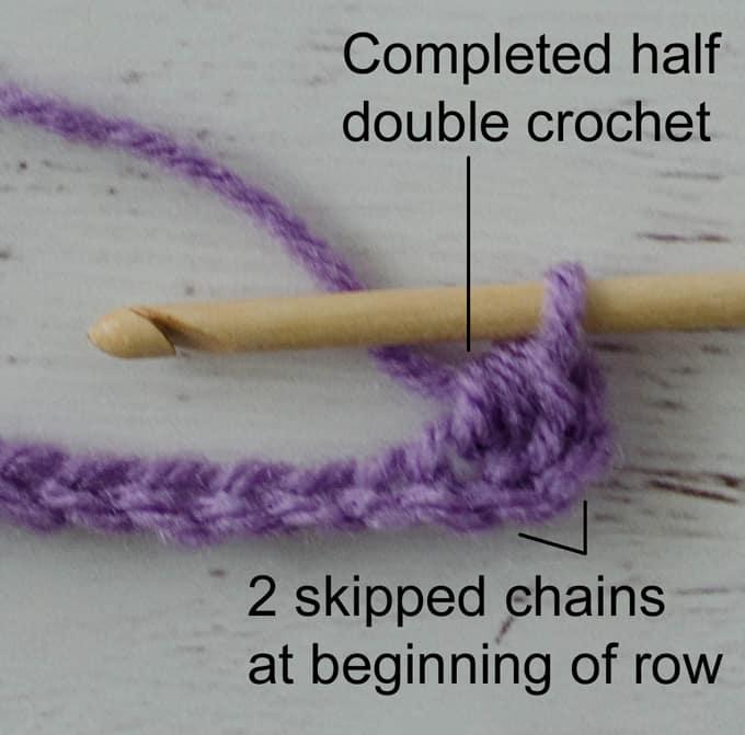 purple crochet stitch sample half double crochet