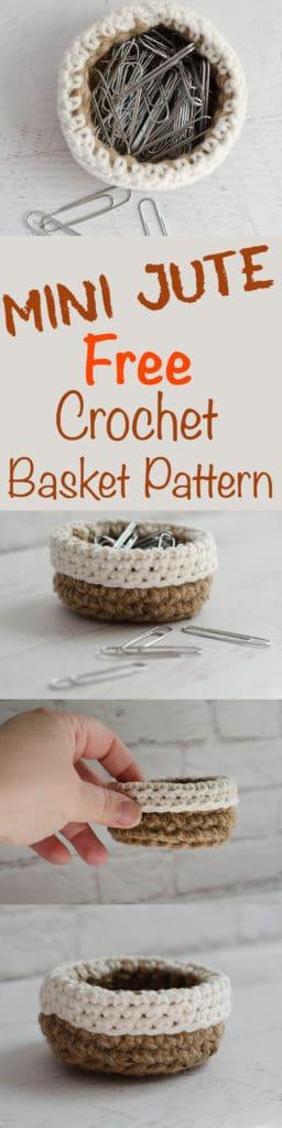Mini Crochet Jute Basket