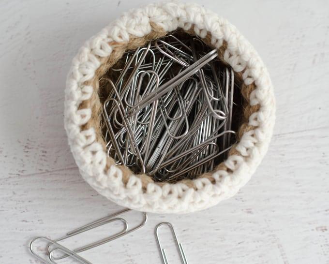 Mini Jute Basket Crochet Pattern