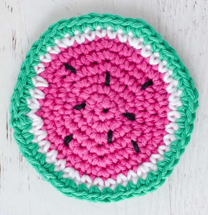 crochet watermelon coasters