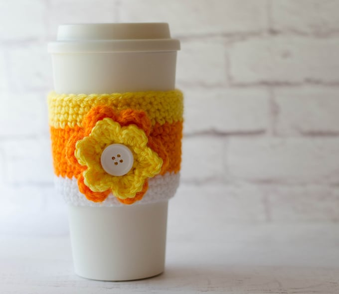 Crochet candy corn cup cozy