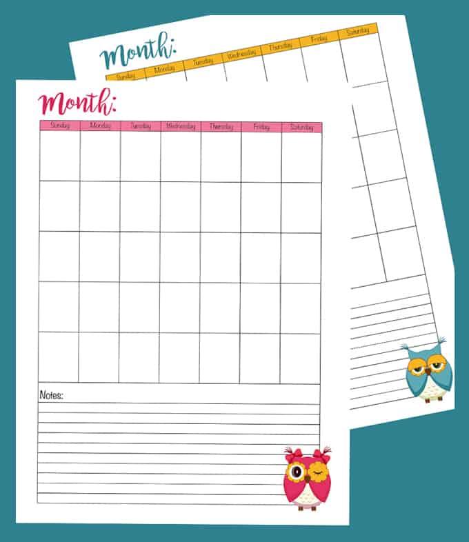 Crochet Journal Calendar Pages