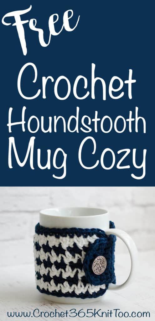 Crochet Houndstooth Mug Cozy