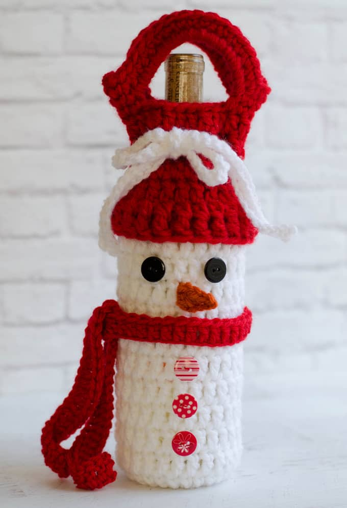 Crochet Snowman Wine Cozy Pattern