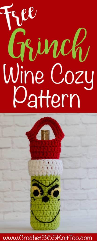 Crochet Grinch Wine Cozy