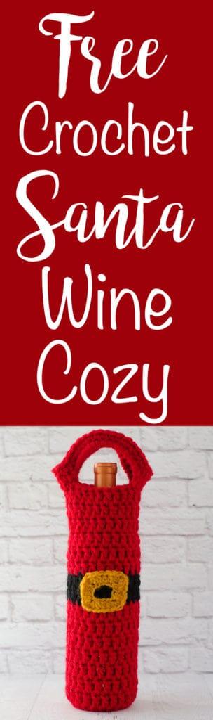Crochet Santa Wine Cozy