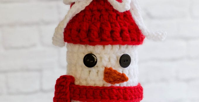 Crochet Snowman Wine Cozy