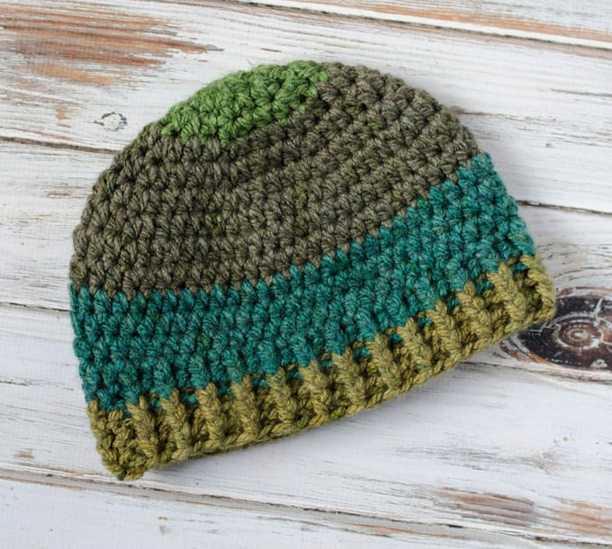 Crochet men's beanie hat.