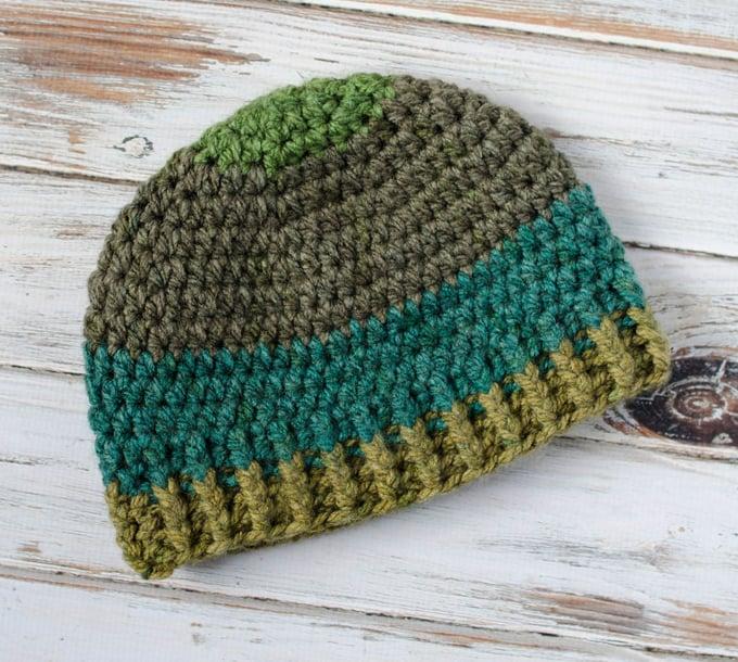 Crochet men's beanie hat.