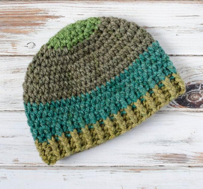 Brawny Beanie Men's crochet hat with super bulky yarn