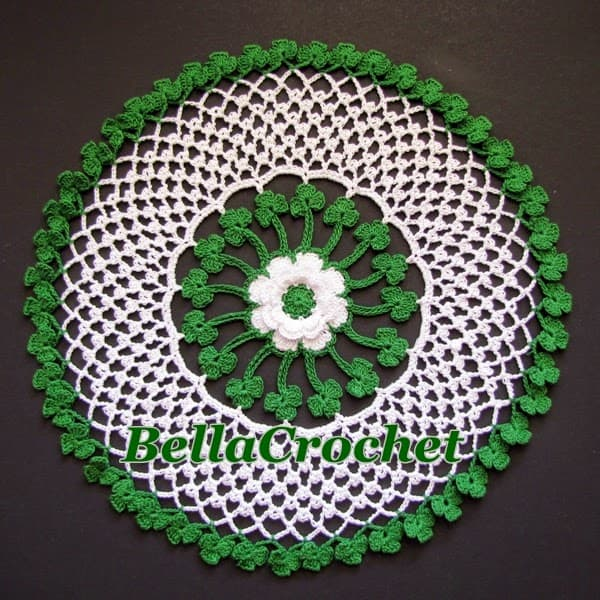 Shamrock themed crochet doily
