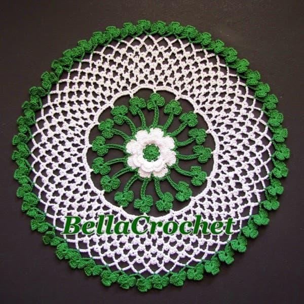 Shamrock themed crochet doily