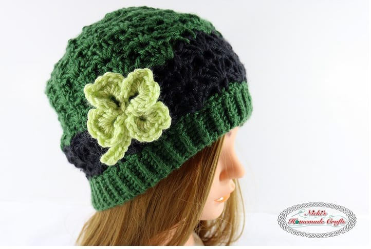 Women's St Patrick's Day crochet hat with shamrock