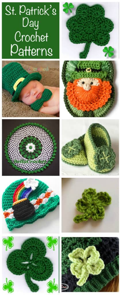 St Patrick's Day crochet patterns. Crochet shamrocks. Crochet St Patty's Day hats, home decor, baby hat and baby booties.