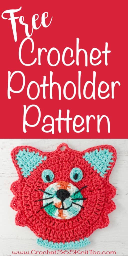 free crochet cat potholder pattern