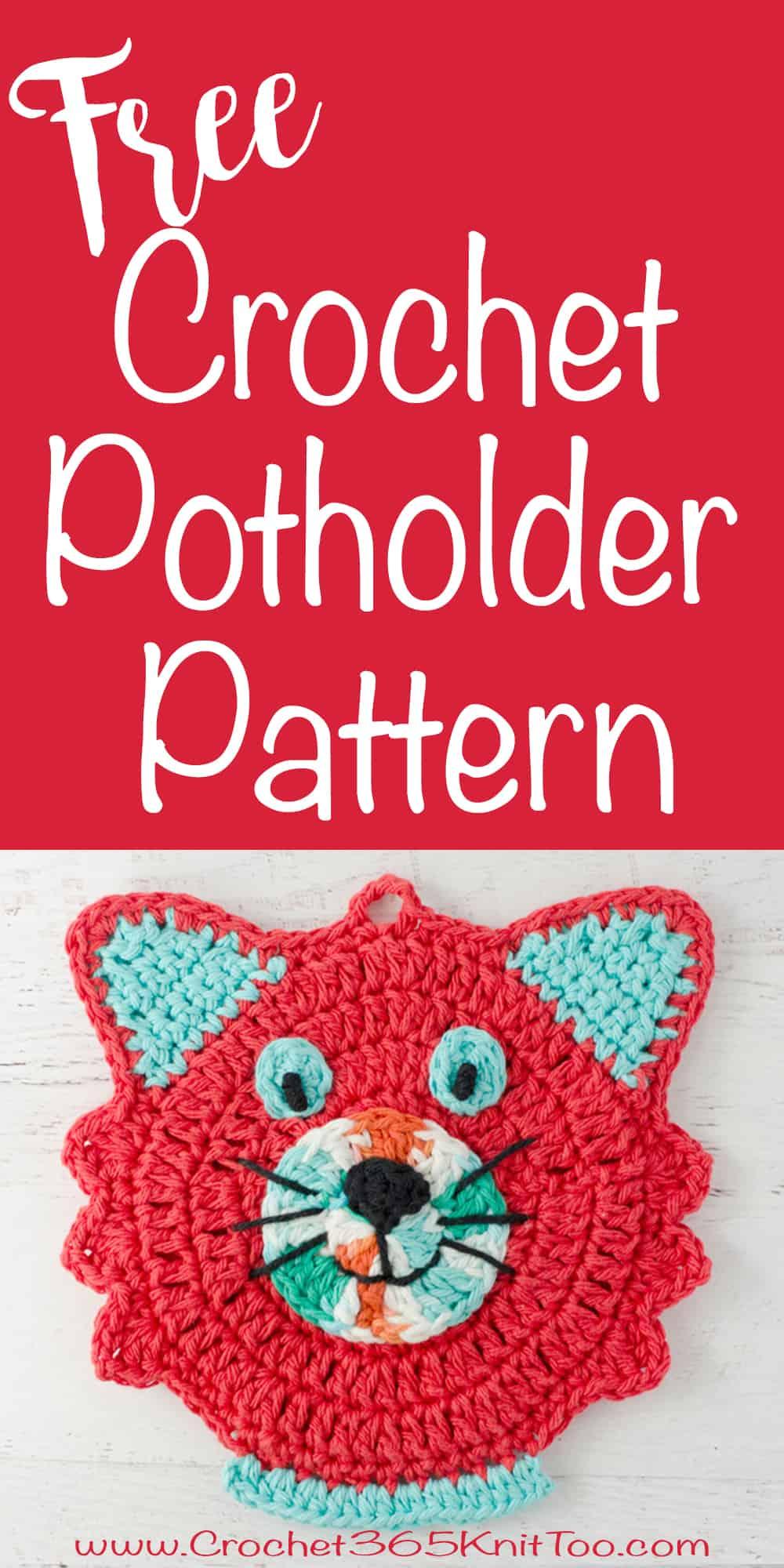 love this crochet cat potholder pattern |crochet365knittoo #crochetpatholder #crochetpattern