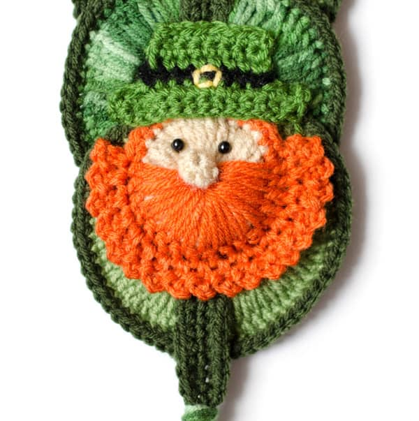 crochet leprechaun wall hanging