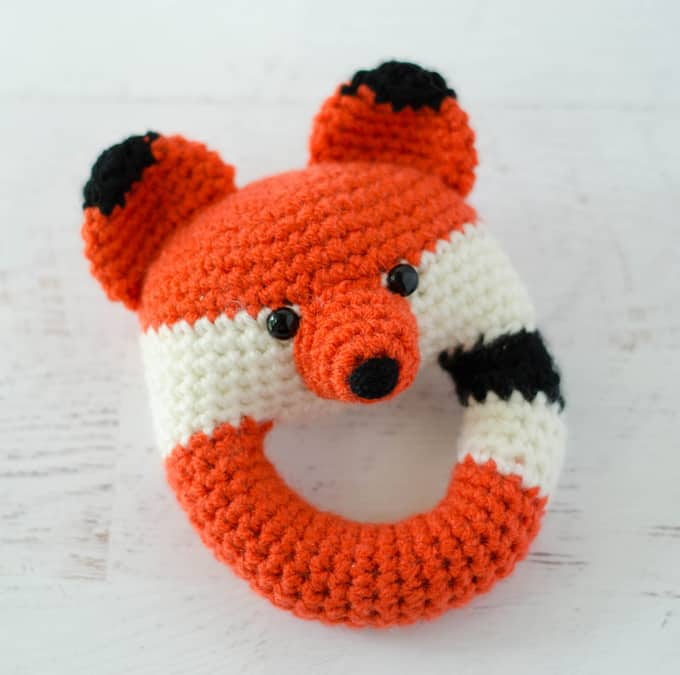 Crochet fox baby rattle
