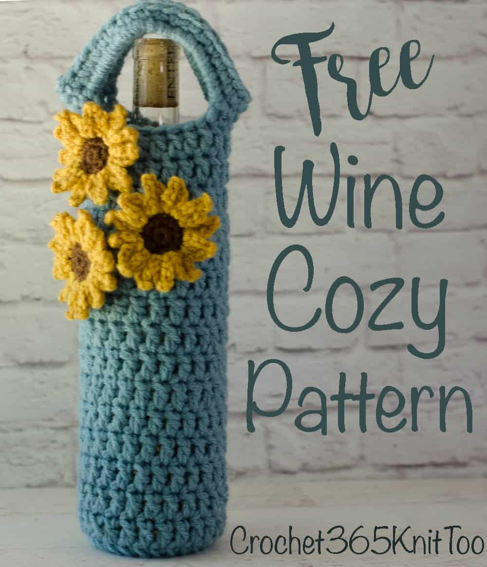 Crochet Sunflower Wine Cozy Pattern