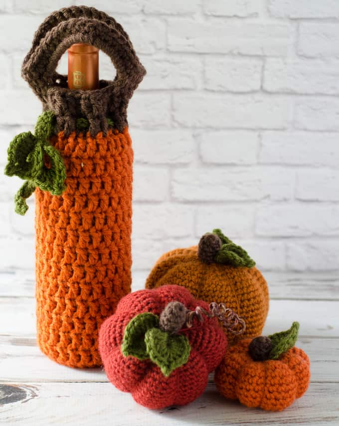 Crochet Pumpkin Wine Cozy