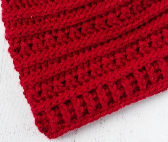 red crochet hat