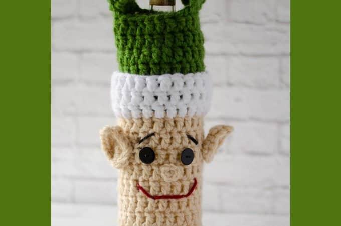 crochet elf wine cozy