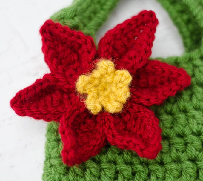 Poinsettia Wine Cozy Crochet 365 Knit Too