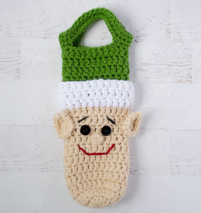 crochet elf wine cozy