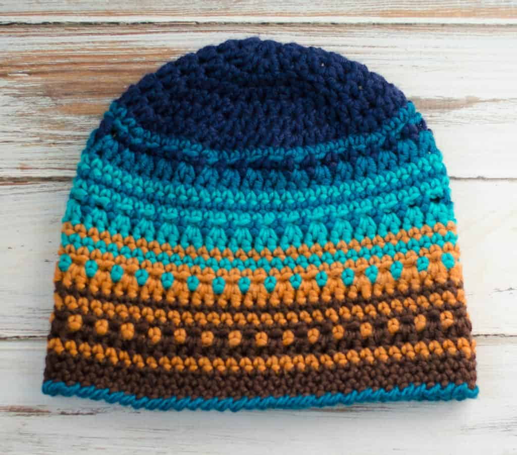 Crochet Big Bay Beanie in Blue and brown yarn