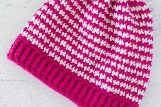 Crochet Houndstooth Hat
