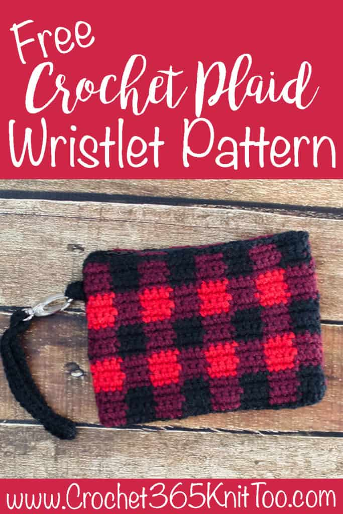 Crochet Plaid Wristlet