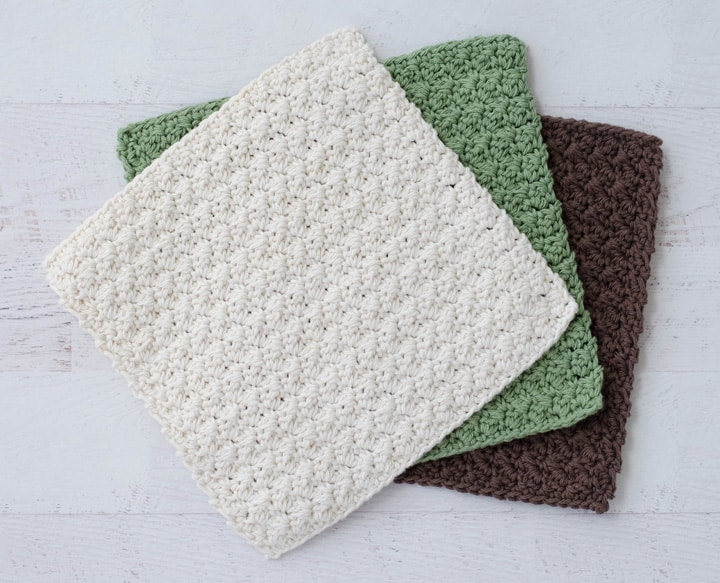crochet dishcloths in ivory, green and brown