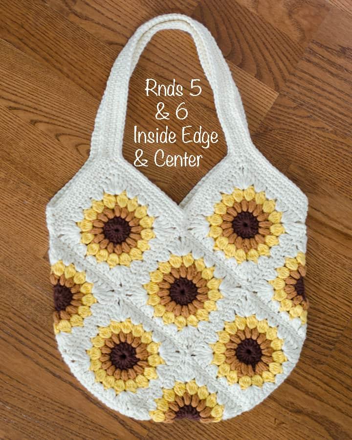 crochet sunflower bag showing straps