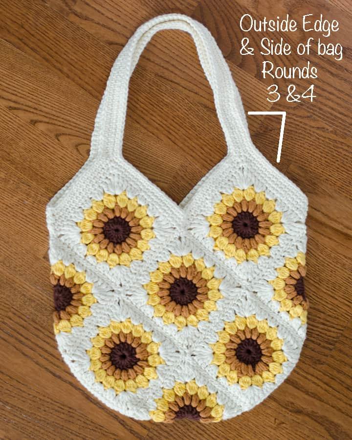 crochet sunflower bag showing strap