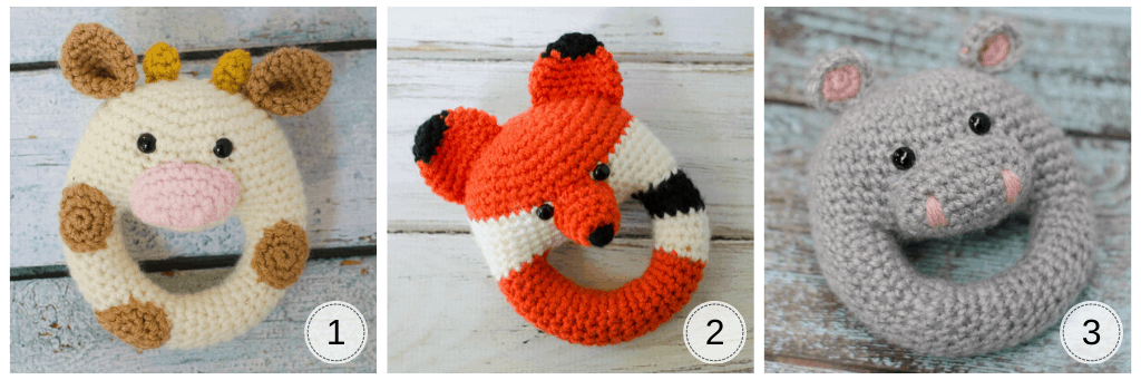 crochet rattles: A cow rattle, a fox rattle and a hippo rattle