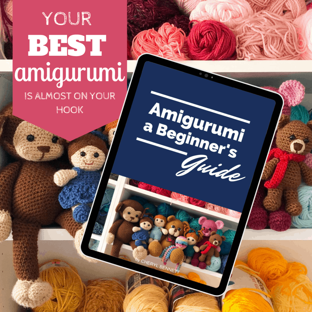 Graphic of Amigurumi ebook in front of shelves of yarn and stuffed toys