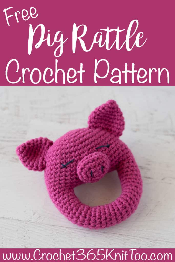 bright pink crochet pig rattle