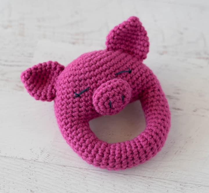 bright pink pig rattle