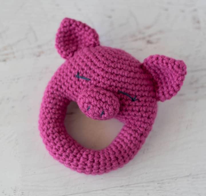 pink pig rattle