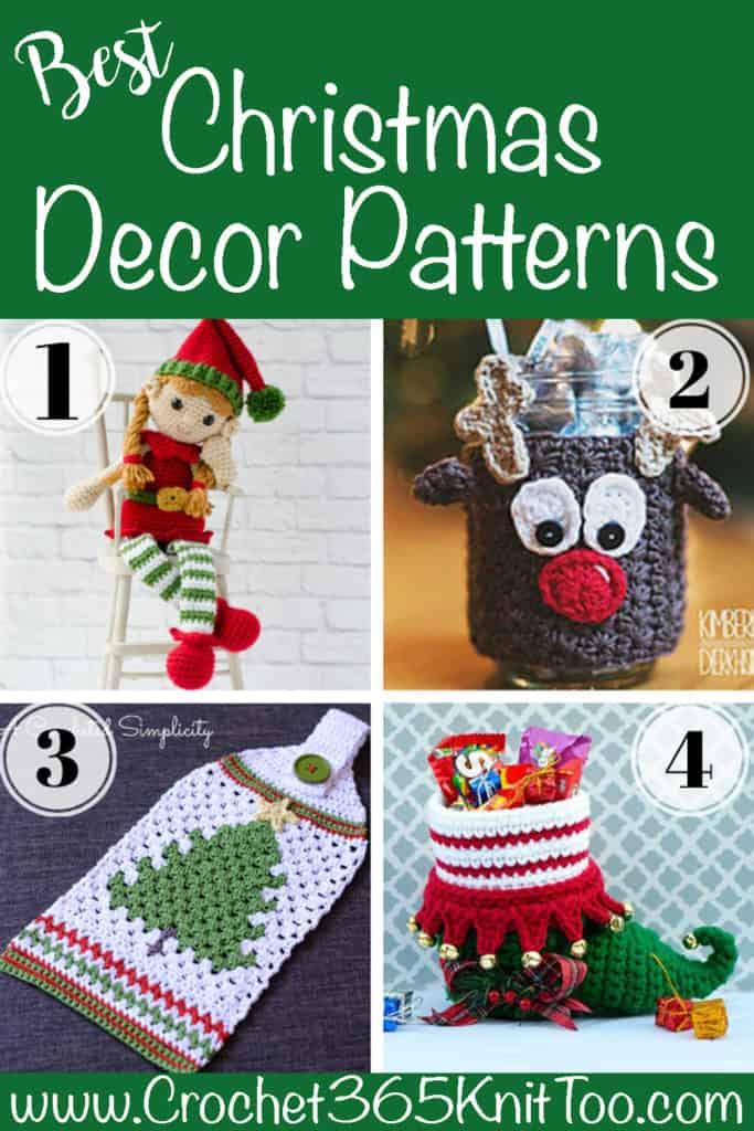 Christmas crochet elf, crochet reindeer cup cozy, crochet christmas tree towel and a crochet elf shoe