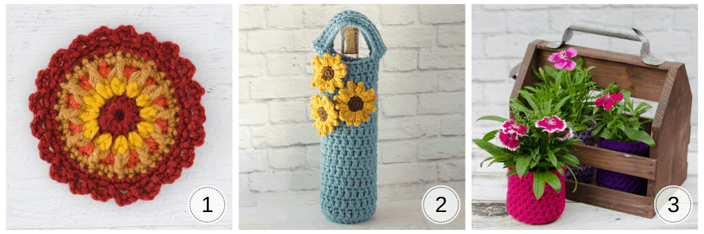 3 photos. A crochet mandala, a sunflower wine cozy and a crochet pot for a flower