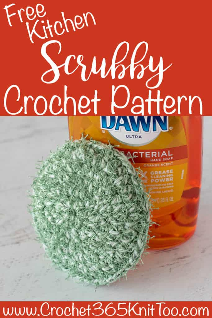 green crochet scrubbie with dish soap