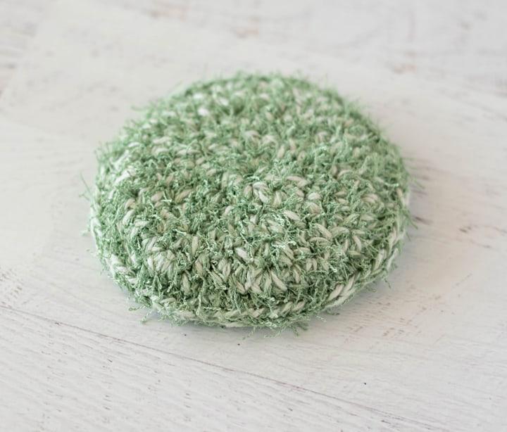 green crochet dish scrubber