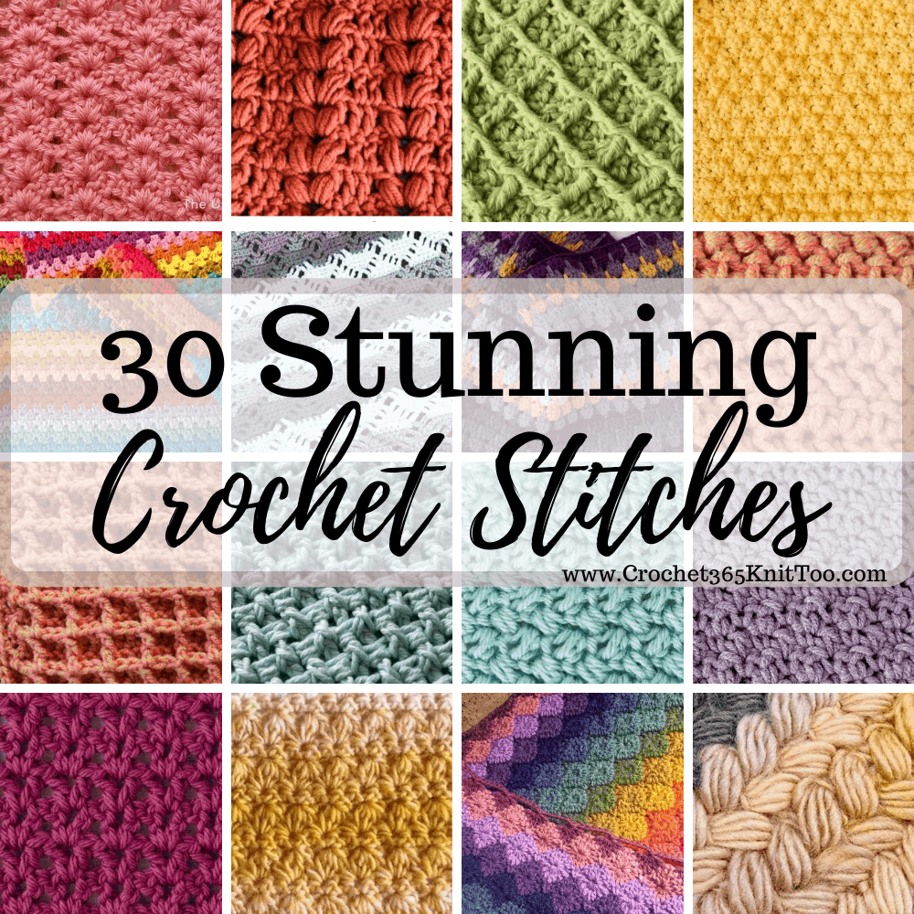 Graphic of crochet stitches in multiple colors